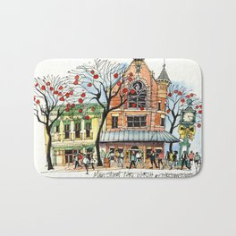 Main Street Fort Worth at Christmastime Bath Mat