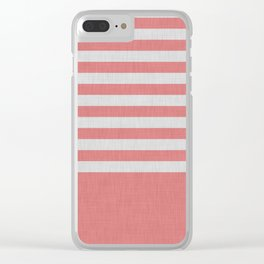 Orange and gray color block and stripes Clear iPhone Case