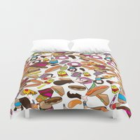 junk food Duvet Covers featuring Cartoon Junk food pattern. by Nick's Emporium Gallery