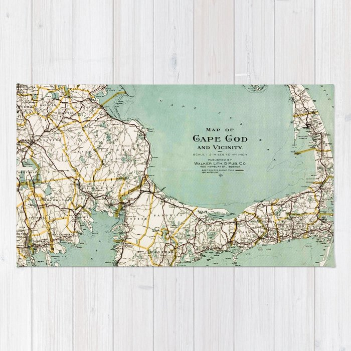cap cod and vicinity map rug by mapmaker society6