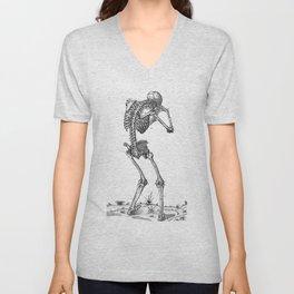 Vintage - Sobbing Skeleton Unisex V-Neck