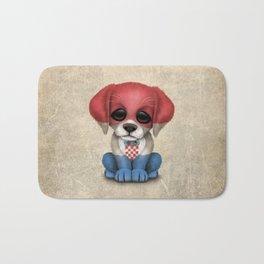 Cute Puppy Dog with flag of Croatia Bath Mat