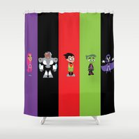 teen titans Shower Curtains featuring Teen Titans Go by Adrian Mentus