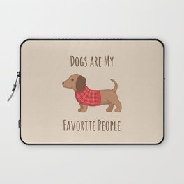 Dachshund Wiener Dog in Red Plaid Sweater Laptop Sleeve