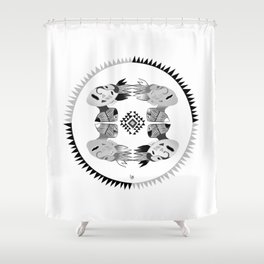 Pow Wow B&W Shower Curtain