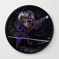 rocket raccoon Wall Clocks featuring Rocket Raccoon  by kuri