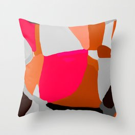 Abstract in Pink, Brown and Grey Throw Pillow