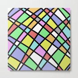 Crazy Pastel Paving - Abstract, pastel coloured mosaic paved pattern Metal Print