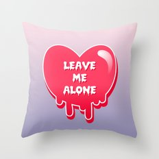 pastel melty heart leave me alone Throw Pillow