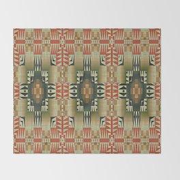 Orange Red Olive Green Native American Indian Mosaic Pattern Throw Blanket