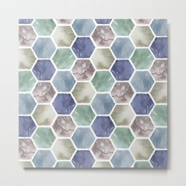 Cold Hexagones Metal Print