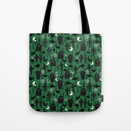 Scary Green Graveyard Tote Bag
