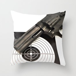 Air gun pistol revolver and a target Throw Pillow