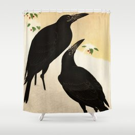 Couple Crow in snow - Vintage Japanese Woodblock Print Shower Curtain