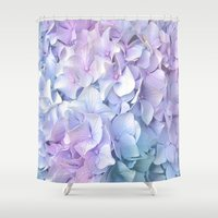 ruben Shower Curtains featuring Soft Pastel Hydrangea by Judy Palkimas