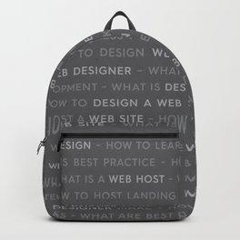 Grey Web Design Keywords Backpack