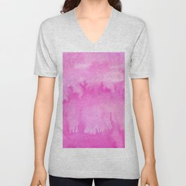 Abstract modern blush pink watercolor paint pattern Unisex V-Neck