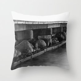 Pier black white Throw Pillow