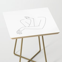 Minimal line drawing of woman's folded arms - Anna Side Table
