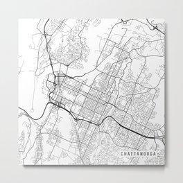 Chattanooga Map, USA - Black and White Metal Print