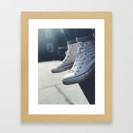 All White Chucks Framed Art Print