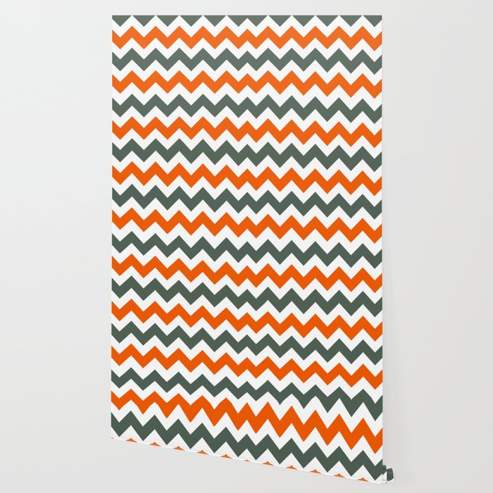 Chevron Pattern In Russet Orange Grey and White Wallpaper