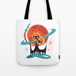 Galactic Cats by Art of Scooter Mid Century Modern Art Tote Bag
