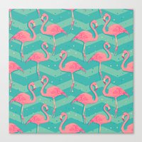 flamingo Canvas Prints featuring Flamingo by Julia