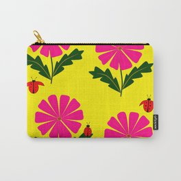 Lady Bugs and Pink Flowers Carry-All Pouch