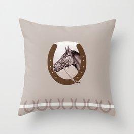 Sir Alfred - Racehorse Throw Pillow
