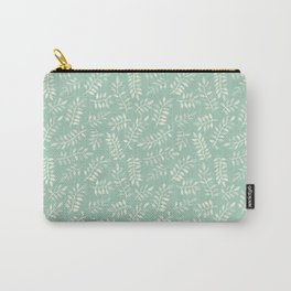 Painted Leaves - a pattern in cream on soft mint green Carry-All Pouch