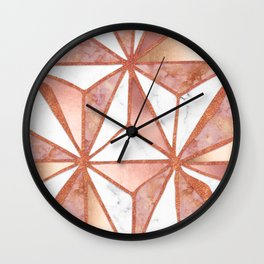 Rose Gold Marble Geometric Abstract Wall Clock