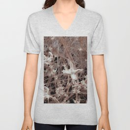 blooming dry plant with brown dry grass background Unisex V-Neck