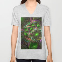 Colorful and Luminous, Abstract Fractal Art Unisex V-Neck