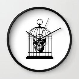 Skull Caged Wall Clock