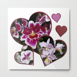 Hearts and Orchids Metal Print