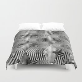 It's Alive! Black and White Op-art Duvet Cover