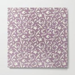 Decorative Pattern in Light Lavender an Cream Metal Print