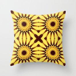 Sunflowers Yellow & Brown Pinwheel Flowers Throw Pillow