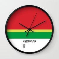 pantone Wall Clocks featuring Pantone Fruit - Watermelon by Picomodi