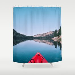 Red Canoe on the Lake (Color) Shower Curtain