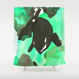 Diving Orca - Mint Green Shower Curtain