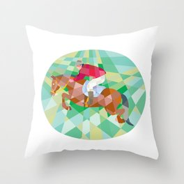 Equestrian Show Jumping Oval Low Polygon Throw Pillow