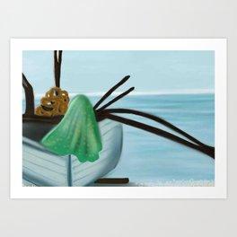Boat on Patnam Beach Goa Art Print