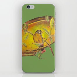 Festive Christmas Bird on a Berry Tree for the Holidays in Green iPhone Skin