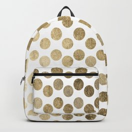 Elegant modern white faux gold polka dots Backpack