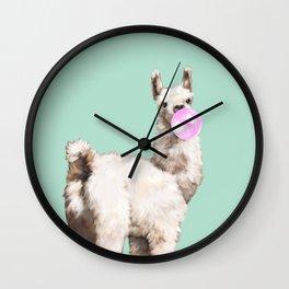 Baby Llama Blowing Bubble Gum Wall Clock