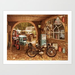 Nostalgic garage with tractor and motorcycle Art Print
