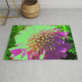 Abstract Pincushion Flower in Lime Green and Purple Rug