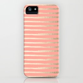 Abstract Stripes Gold Coral Pink iPhone Case